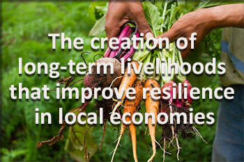 creation of long-term livelihoods that improve resilience in local economies
